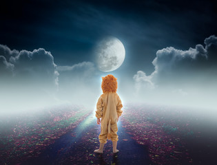 Back view of child costumed like a lion on pathway with a nightly sky