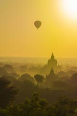 Myanmar. Bagan. Hot air balloons rising over the temples of Bagan.
