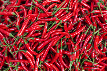 Red peppers for sale in market, Myanmar, (Burma)