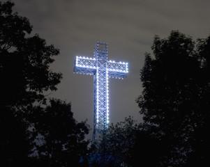 Illuminated Mont Royal Cross at dusk, Montreal, Quebec, Canada