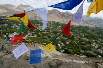 India, Ladakh, Leh, capital of Ladakh, red, yellow, blue, red, green and white prayer flags flying over fields with mountains in the background