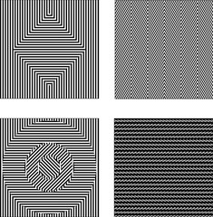 Vector set black and white optical illusions. Seamless texture