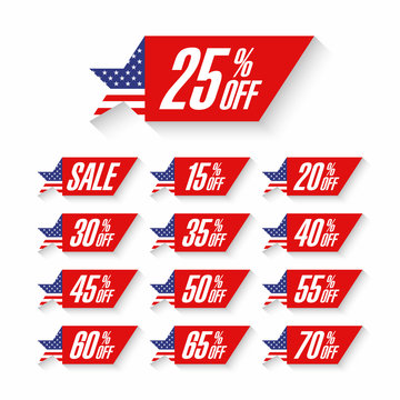 USA Independence Day Sale discount labels