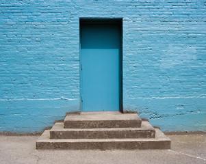 Concrete steps leading to doorway