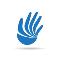Hand logo design. Vector graphic illustration
