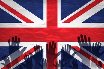 Open hand raised, multi purpose concept, UK United Kingdom flag painted isolated on white background