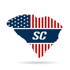 South Carolina patriotic map. Vector graphic design illustration