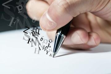 mano, scrivere, firmare, penna, lettera