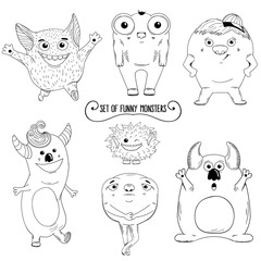 Set of cartoon cute character Monsters. Vector illustration.