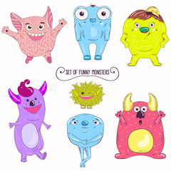Cartoon cute character Monsters. Vector illustration.