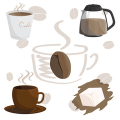 coffee cafe cup brown illustration