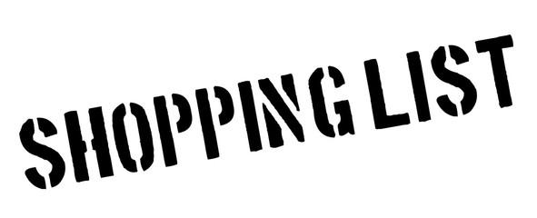 Shopping list black rubber stamp on white