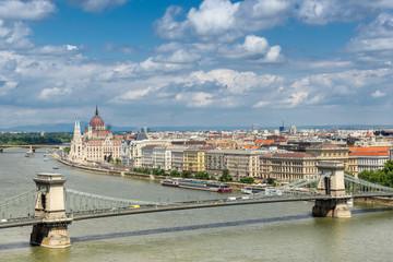 The Chain Bridge across the Danube River in Budapest Hungary