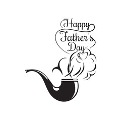 Father's Day logo design. Smoking pipe icon and inscription composed of smoke - Happy Father's Day. Father's Day lettering. Vector illustration