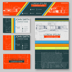Business cards design with cityscape sketch for architectural company. Architectural background for architectural project, architectural brochure, technical project, architectural drawing.