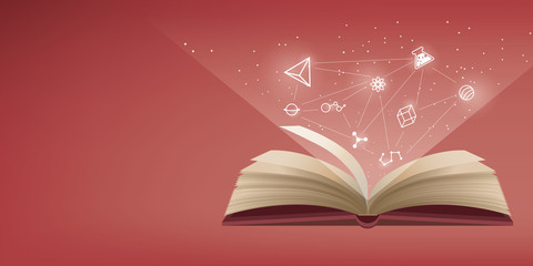 The red book is open, the icon refers to knowledge and learning.