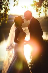 Beautiful wedding photo session at sunset