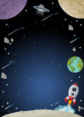 Space galaxy with moon, earth, planets and stars. Solar System.