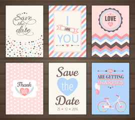 Set of romantic cards
