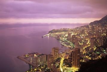 Evening view over Monte Carlo, Monaco, Mediterranean, Europe