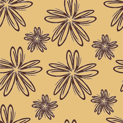 Seamless pattern with flowers. Simple flowers. Floral background.