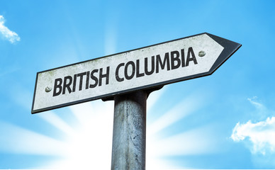 British Columbia direction sign in a concept image