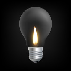 Candle light in Incandescent Light bulb concept