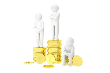 3d humans on a podium made of gold euro coins