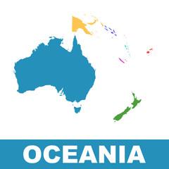 Political Map of Oceania. Flat vector