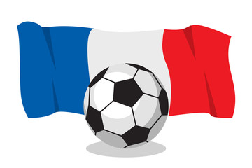 Football or soccer ball with french flag on white background. World cup. Cartoon ball. Concept of championship, league, team sport. Equipment for leisure activity. Game for kids and adult