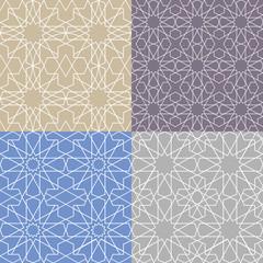 Arabic islamic seamless pattern set.Geometrical,linear