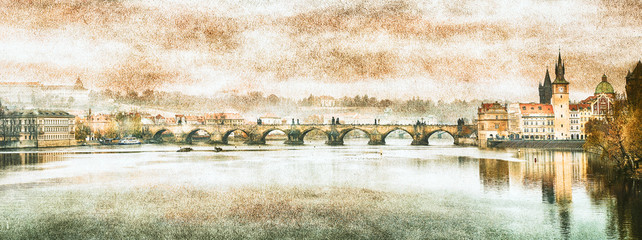 Charles Bridge in Prague (Karluv Most) the Czech Republic. Vintage effect. Wall mural