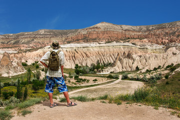 lonely traveler looking into the Cappadocia, Turkey