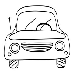 Car. Car line drawing. Coloring page. Vector illustration.