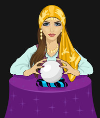 Young fortune teller woman reading future on magical crystal ball