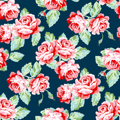 Floral seamless pattern with watercolor roses.