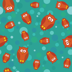 seamless pattern with owls and circles