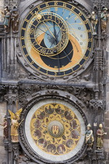 Astronomical clock, Town Hall, Old Town Square, Old Town, Prague, Czech Republic, Europe