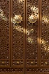 Detail of door inside the Sultan Qaboos Hall, Al-Ghubrah or Grand Mosque, Muscat, Oman, Middle East