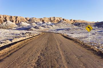 Road through the Valle de la Luna (Valley of the Moon), Atacama Desert, Norte Grande, Chile, South America