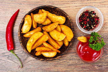 Potato Wedges, Potatoes in a Rural with Tomato Ketchup