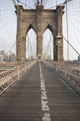 Early morning on Brooklyn Bridge, New York City, New York, United States of America, North America