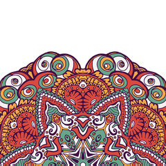 Colorful ornamental ethnic card with mandala.