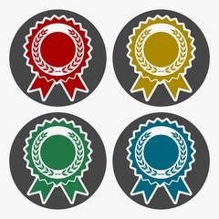Award with laurels icons set