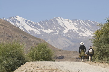 Farmers on their way home, Shokh Dara valley, the Pamirs, Tajikistan, Central Asia