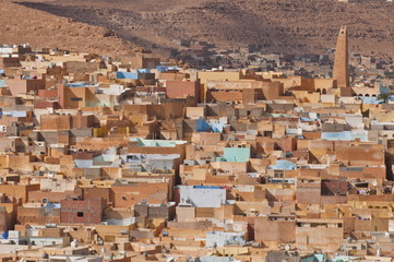 View over the Mozabite village of Beni Isguen, M'Zab, UNESCO World Heritage Site, Algeria, North Africa, Africa