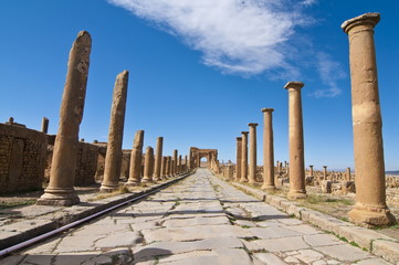 The Roman ruins, Timgad, UNESCO World Heritage Site, Algeria, North Africa, Africa