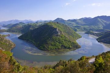 Huge river bend at Rijeka Crnojevica, Montenegro, Europe