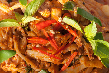 Chili curry Fried Chicken pickled bamboo shoot. Blur background