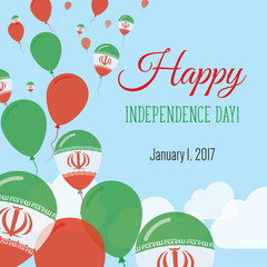 Independence Day Flat Greeting Card. Iran, Islamic Republic Of Independence Day. Iranian Flag Balloons Patriotic Poster. Happy National Day Vector Illustration.